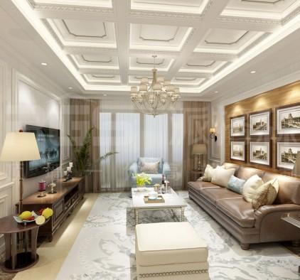 派格森顶墙一体客厅欧式装修效果图