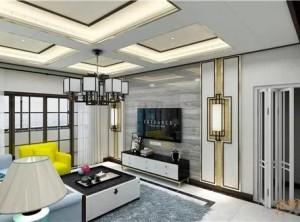 金粉世家墙面新中式风格客厅装修案例