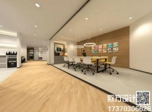 现代风格会议室装修效果图,护墙板会议室工程装修安例