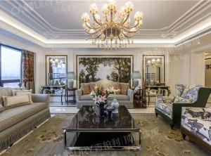 吉柏利顶墙欧式客厅装修效果图,欧式风格顶墙装修