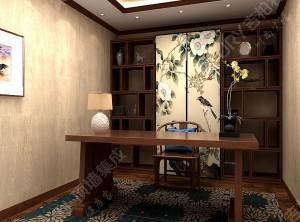 中式书房集成墙面装修案例 ,吉柏利中式书房装修