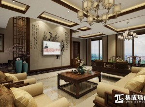 三一阳光集成顶墙客厅中式装修效果图 (5)