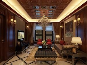 世纪豪门墙面美式客厅装修效果图,美式风格装修