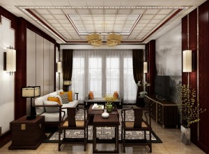 世纪豪门墙面中式客厅装修实例赏析