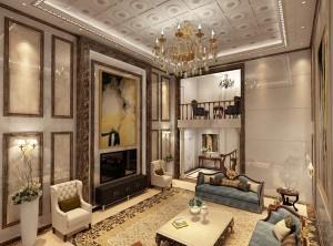 欧式客厅吊顶装修效果图,世纪豪门客厅吊顶装修图