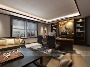 吉象铝墙面工装系列中式办公室装修效果图 (6)