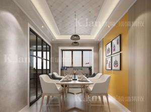 凯兰顶墙集成美式风格餐厅整体装修效果图
