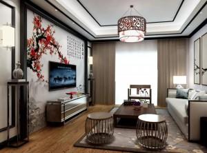 新中式风格客厅装修图,高牌典雅系列产品效果图