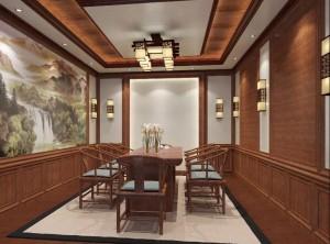 万宝顶墙集成复古中式风格茶室客厅装修效果图