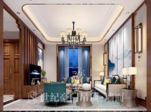 世纪豪门吊顶墙面新中式风格背景墙装修图片