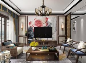 金牌速装新中式客厅装修效果图,背景墙图片
