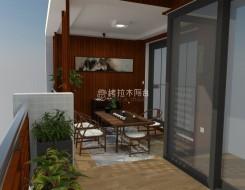 新中式风格阳台效果图,高格调的装修实例