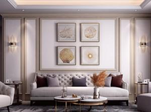 品格高端顶墙欧式客厅背景墙装修效果图