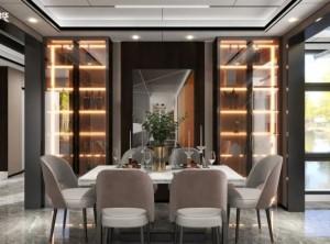 奥华顶墙109㎡三室两厅高端顶墙私宅装修效果图