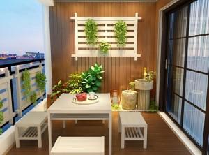 好花园阳台定制新中式风装修效果图