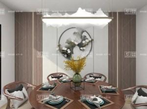 金盾顶美蜂窝岩板背景墙新中式风格案例大赏析