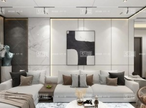 金盾顶美蜂窝岩板背景墙案例,北欧风格背景墙效果图